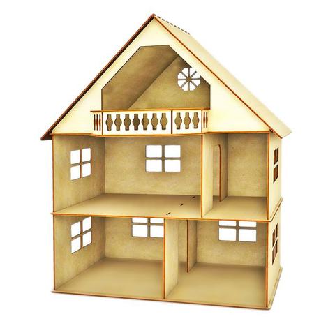 Кукольный домик из фанеры 3 этажа с мансардой и балконом