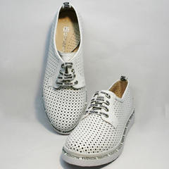 Красивые белые туфли женские летние GUERO G177-63 White.