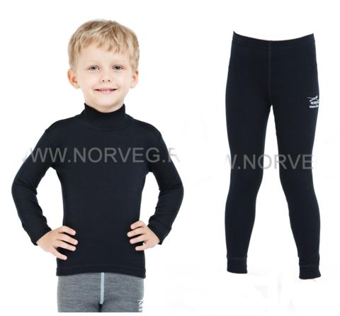 Комплект термобелья из шерсти мериноса Norveg Soft  детский Black