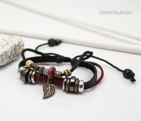 BL332-1 Мужской браслет с пером, натуральная кожа, металлические вставками