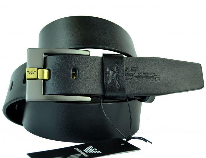 Ремень мужской чёрный из кожи 40 мм для джинсов Giorgio Armani (копия) 40KZ-081