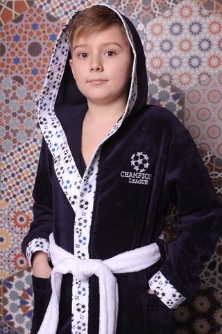 Football синий махровый халат для мальчика  с капюшоном Five Wien Турция