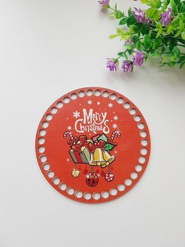 Круг диаметр 15 см, рисунок Merry Christmas