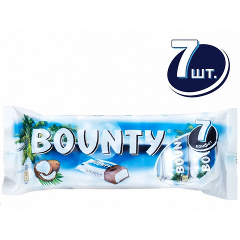 Шоколадный батончик Bounty мультипак 7шт. 192,5г