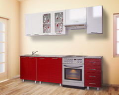 Кухня ВИЕЛЛА 2,4 страйп красный