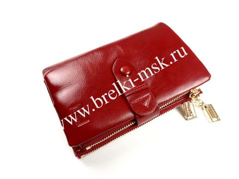 Женский кошелек-трансформер из натуральной кожи. Цвет Красный