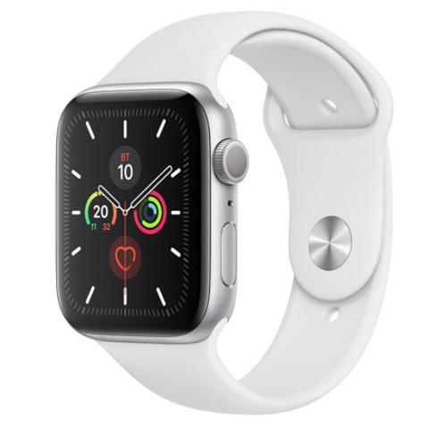 Apple Watch Series 5 GPS, 44mm, корпус из алюминия серебристого цвета, белый спортивный ремешок