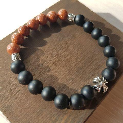 Браслет из натуральных камней: шунгит и оранжевый авантюрин