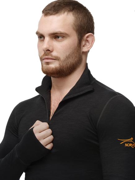 Комплект термобелья с шерстью Norveg Hunter Black мужской горло