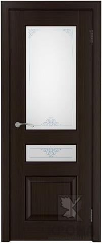Дверь Крона Порто 6, стекло матовое с рисунком, цвет тёмный шоколад, остекленная