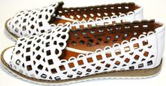 Балетки летние кожаные