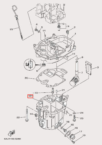 Поддон масляный для лодочного мотора F9,9 Sea-PRO (24-12)