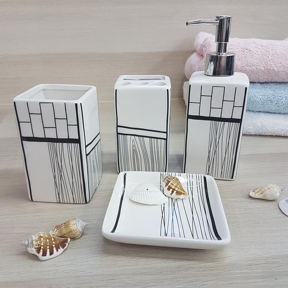 Ванный набор, молочный, керамика.
