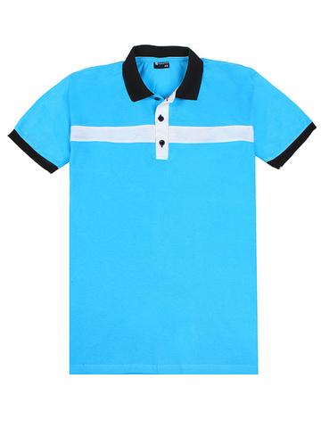 14055-5 поло мужское, бело-голубое