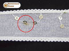 Лента двойная мелкая сеточка с пайетками молочная 22 мм (уценка)