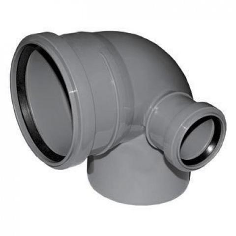 Отвод 87° с патрубком слева СИНИКОН - 110 x 50 (для системы внутренней канализации)