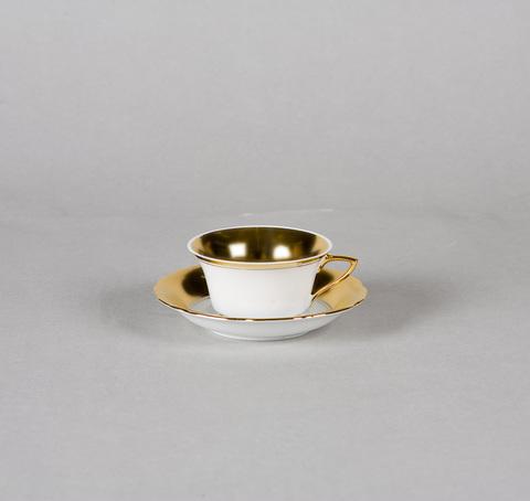 Чашка низкая с блюдцем 0,15 л Виндзор Leander белая/матовое золото
