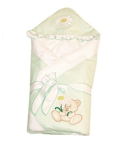 Зимний конверт-одеяло для новорожденных Ромашка салатовый