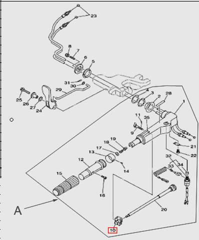 Зажим румпеля  для лодочного мотора T15, OTH 9,9 SEA-PRO (11-10)