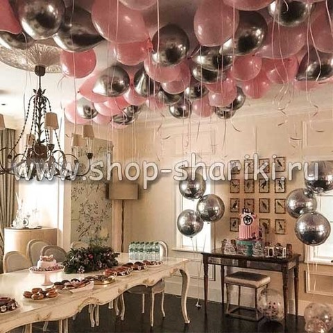 шары розовые и серебро хром