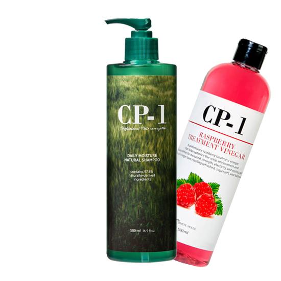 Esthetic House Шампунь + Кондиционер-ополаскиватель CP-1 Daily Moisture Natural Shampoo + Raspberry Treatment Vinegar, 500+500 мл