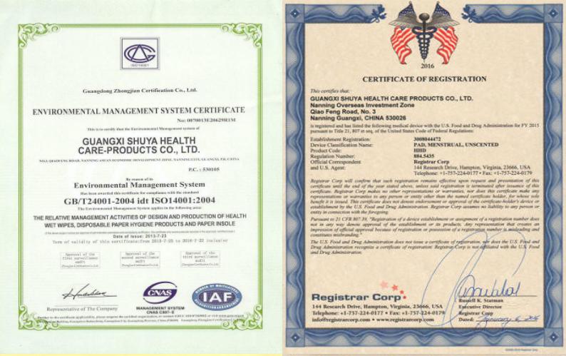 Анионовые ежедневные прокладки сертификат качества