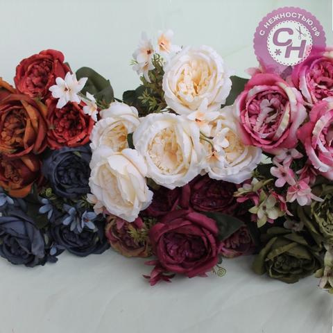 Букет крупных пионовидных роз, 9 веток, 34 см.