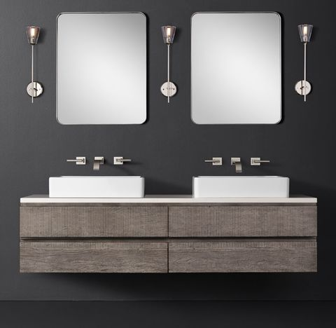 Monterey Double Floating Vessel Vanity - Stone Top - Wall Mount