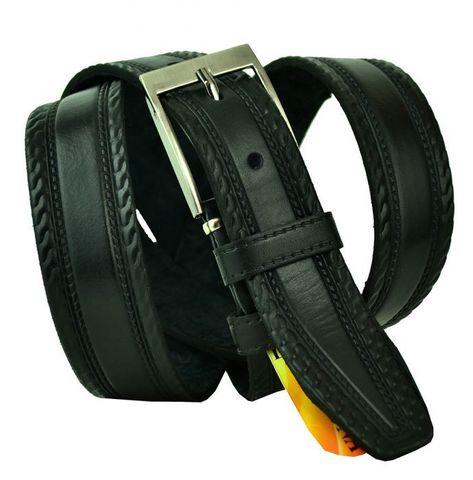 Ремень мужской брючный кожаный чёрный 35 мм российский Fortuna 35Fortuna-001