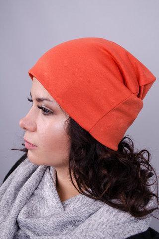 Фэшн. Молодёжные женские шапки. Терракот.