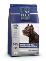 Корм для крупных собак Gina Elite беззерновой, индейка, батат, клюква