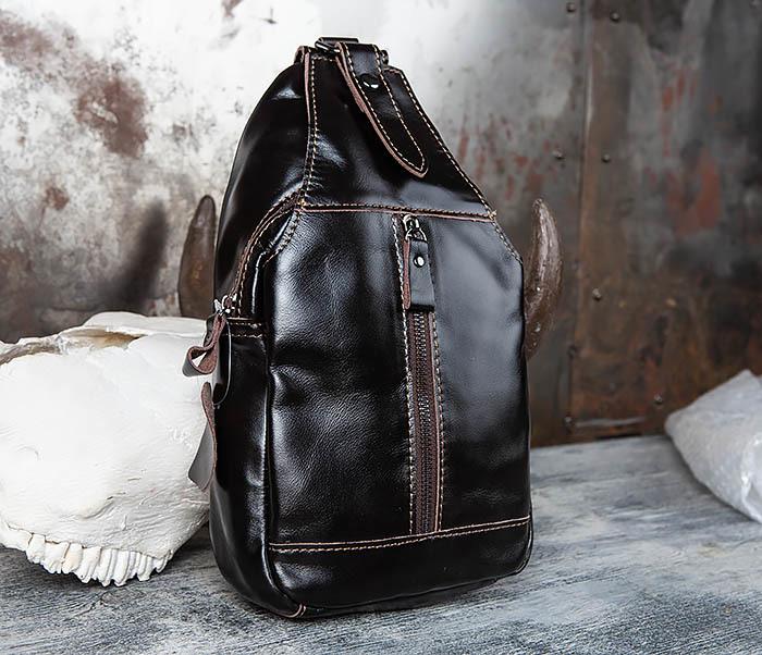 BAG449-1 Рюкзак из натуральной кожи с одной лямкой через плечо фото 01