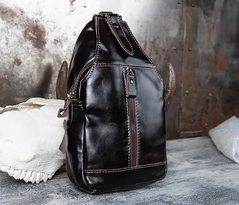 Рюкзак из натуральной кожи с одной лямкой через плечо