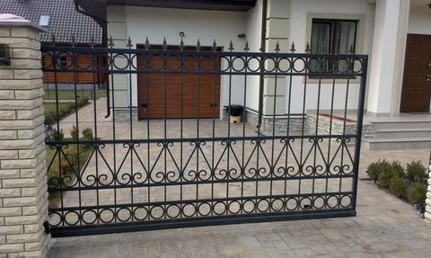 Кованые откатные ворота N-5