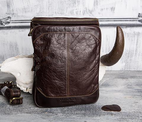 BAG412-2 Мужская сумка с ремнем на плечо из кожи