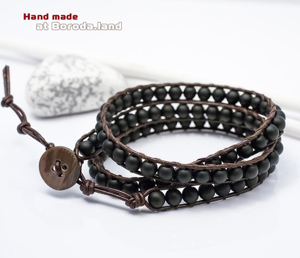 BS542-1 Мужской браслет «Чан Лу» ручной работы на кожаном шнуре, шунгит. «Boroda Design» фото 01