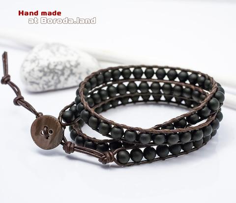 Мужской браслет «Чан Лу» ручной работы на кожаном шнуре, шунгит. «Boroda Design»