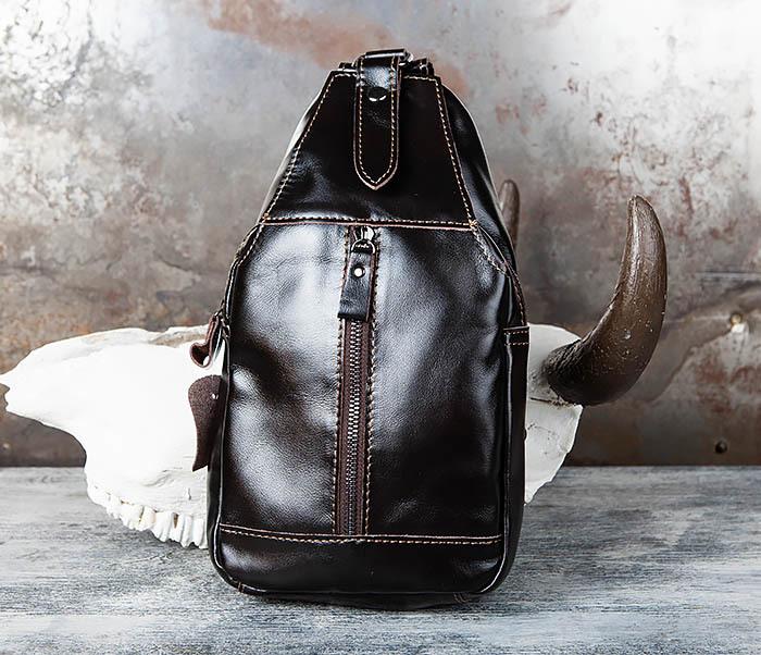 BAG449-1 Рюкзак из натуральной кожи с одной лямкой через плечо фото 02