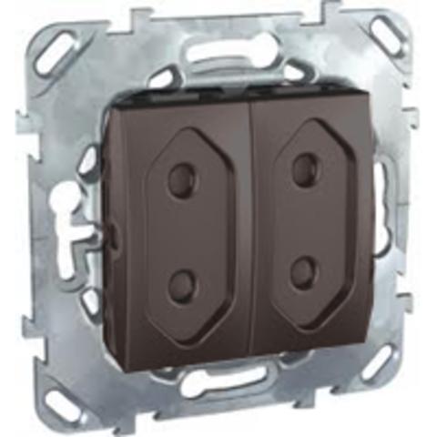 Розетка 2-модульная без заземления, со шторками 10А. Цвет Графит. Schneider electric Unica Top. MGU5.3131.12ZD
