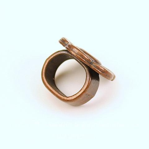 Бусина металлическая (для шнура 10х7 мм) 15х15х12 мм (цвет - античная медь)