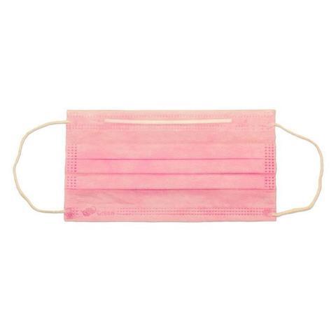 Маска медицинская 3-х слойная на резинках одноразовая (1уп - 50шт) розовые