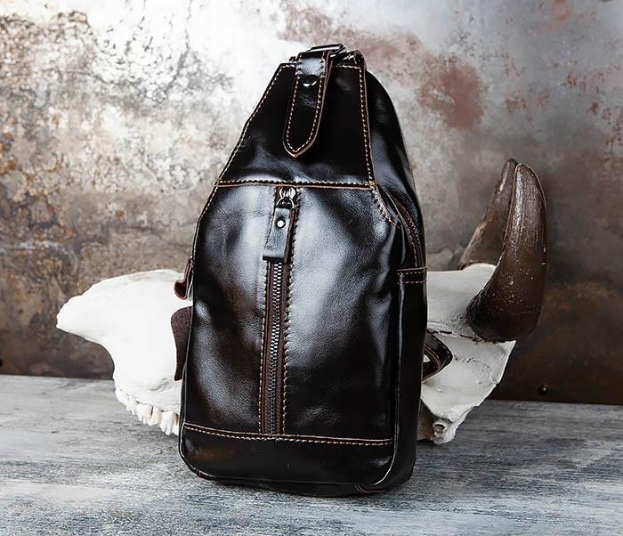 BAG449-1 Рюкзак из натуральной кожи с одной лямкой через плечо фото 03