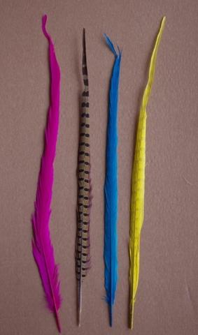 Перо фазана ,  длина ок. 45-50 см. (выбрать цвет) Уценка.