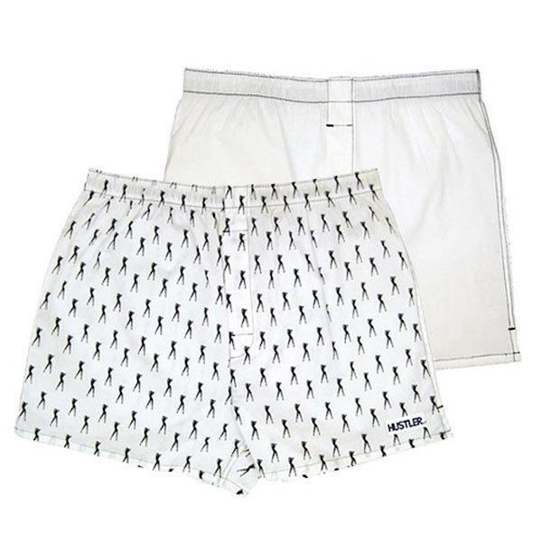 Мужское белье: Комплект из 2 мужских трусов-шортов: белые и с мелким рисунком