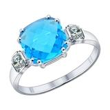 Кольцо из серебра с голубой стеклянной вставкой и фианитами