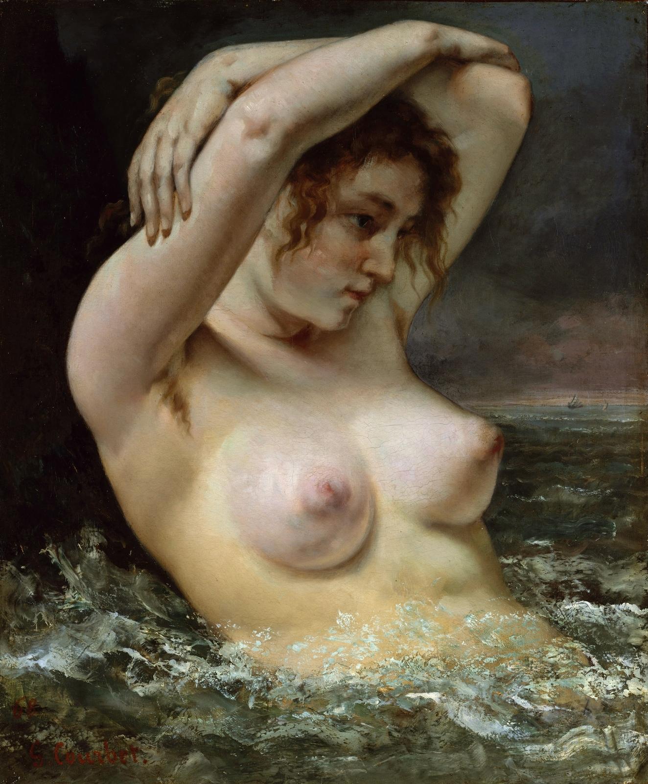 Гюстав Курбе. 1868. Женщина в волнах (The Woman in the Waves). 65.4 х 54. Холст, масло. Нью-Йорк, музей Метрополитен.