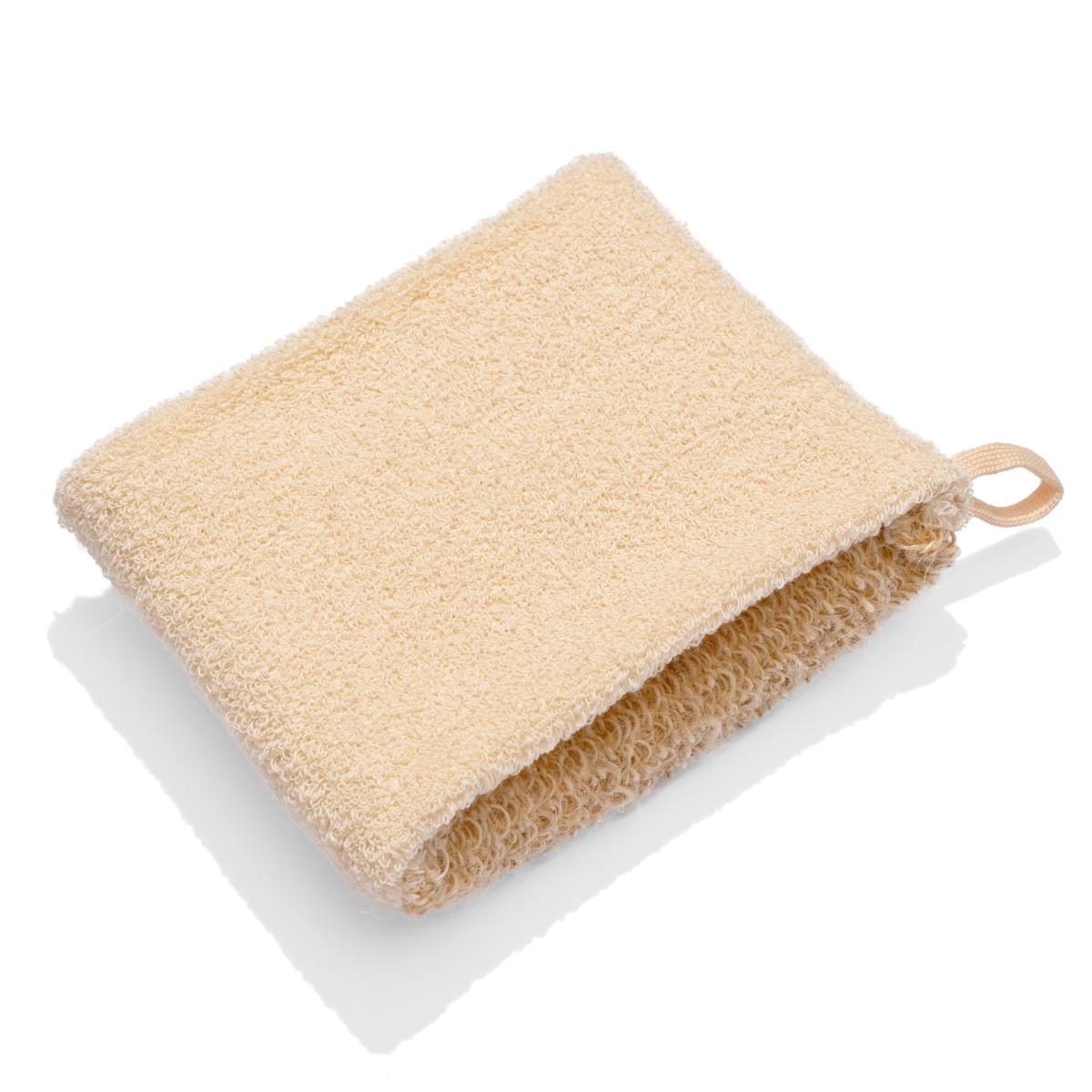 Мочалка массажная из натурального волокна двухсторонняя (гибискус коноплевый + хлопок)