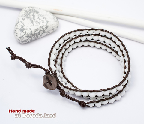BS542-3 Мужской браслет &#34Chan Luu&#34 из белого агата. &#34Boroda Design&#34