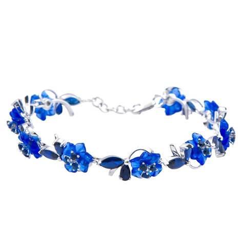Браслет с цветами из синего кварца и сапфиром Арт.4065сс