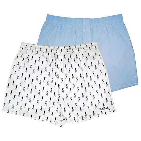 Мужское белье: Комплект из 2 мужских трусов-шортов: голубые и белые с мелким рисунком